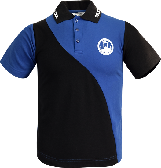 School Panel Polo Front View blue black