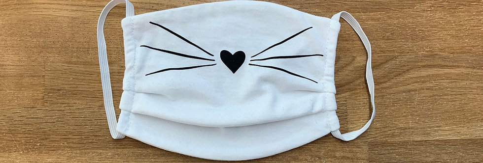 Cat Face Mask - White