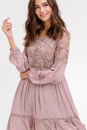 Mocha Long Sleeve Lace Dress