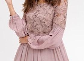 Lace Mocha Floral Dress