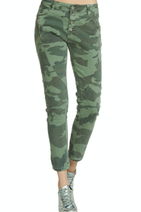 Olive Camo Button Fly Pants