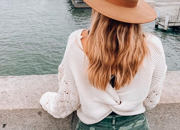Oatmeal Twist Back Sweater