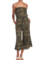 Camo Drawstring Cropped Jumpsuit