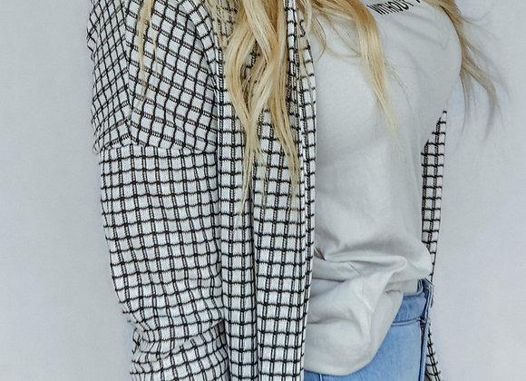 Checkered Sweater Cardigan