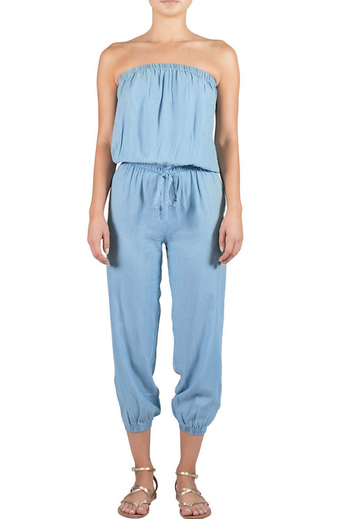 Denim Strapless Jumpsuit