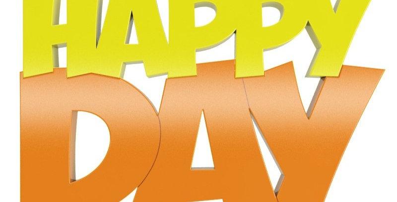 Palavra Decorativa Happy Day - 14x21cm