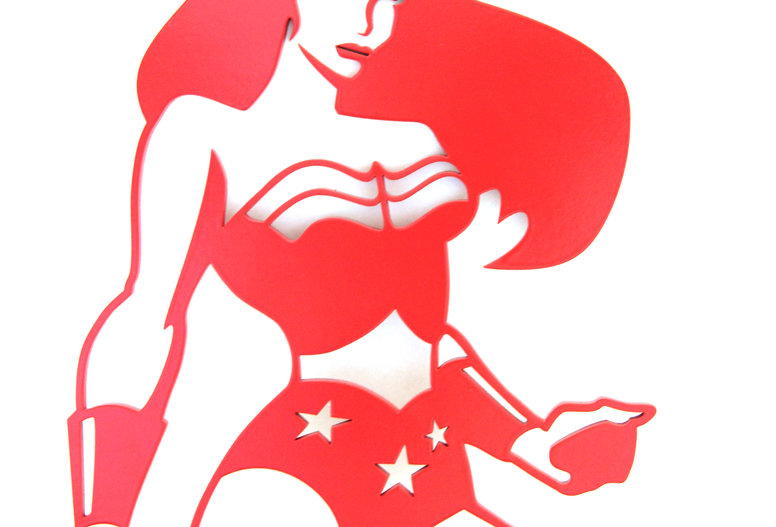Aplique de Parede Super Herói Mulher Maravilha - 37x26cm
