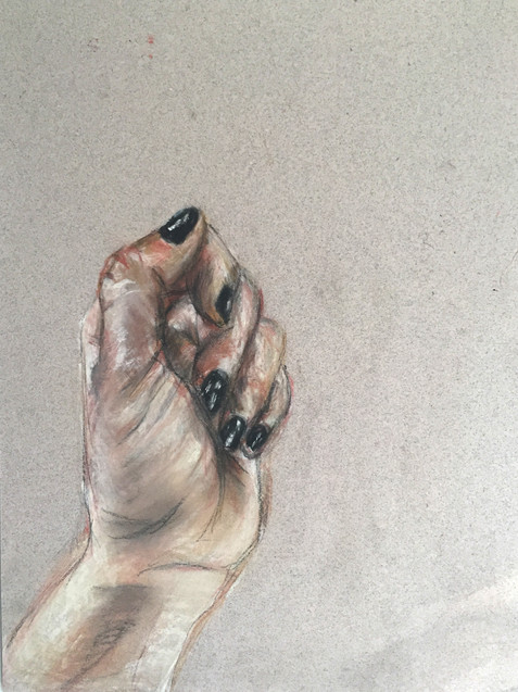 Chalk on paper. Hand observation.
