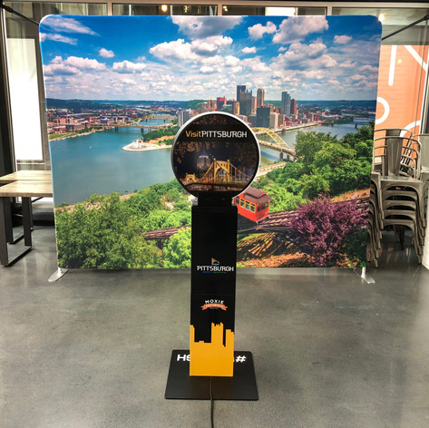 Pittsburgh two sided backdrop and vinyl wrap