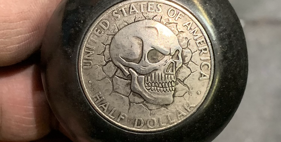 Distressed Half Dollar Skull