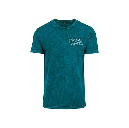 Acid Washed Scriptive Embroidered T-Shirt