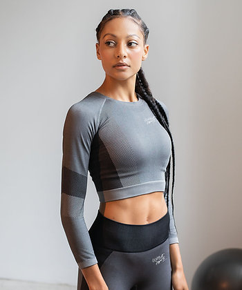 Seamless Panelled Long Sleeve Crop Top