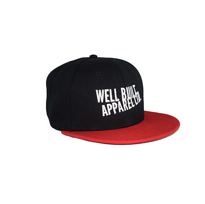 Black & Red Embroidered Snapback