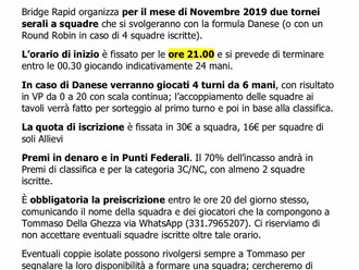 Torneo federale a squadre - mercoledì 13 e 27 Novembre 2019
