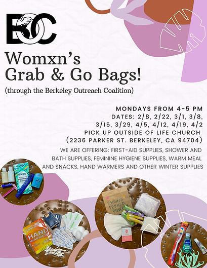 Womxn's Grab and Go Bags! (through Berke