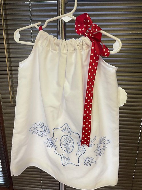 Patriotic Hand Embroidered Pillow Case Dress