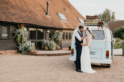 Bride and Groom with campervan