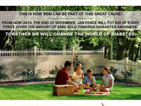 JAN FENCE PROUDLY SUPPORTS DIABETES AWARNESS MONTH