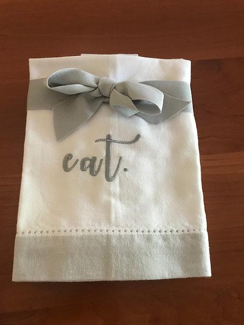 Set of 4 cotton white and gray EAT napkins