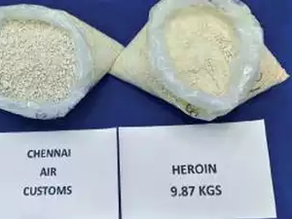 Heroin worth Rs 70 crores seized at Chennai airport.