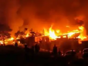 Massive fire breaks out in J&K's Baramulla.