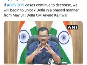 Arvind Kejriwal says 'may unlock if cases decline', Delhi lockdown extended till May 31.