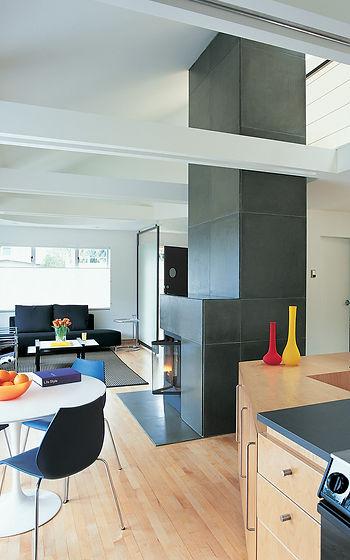 Flat panel slab maple door style in modern kitchen