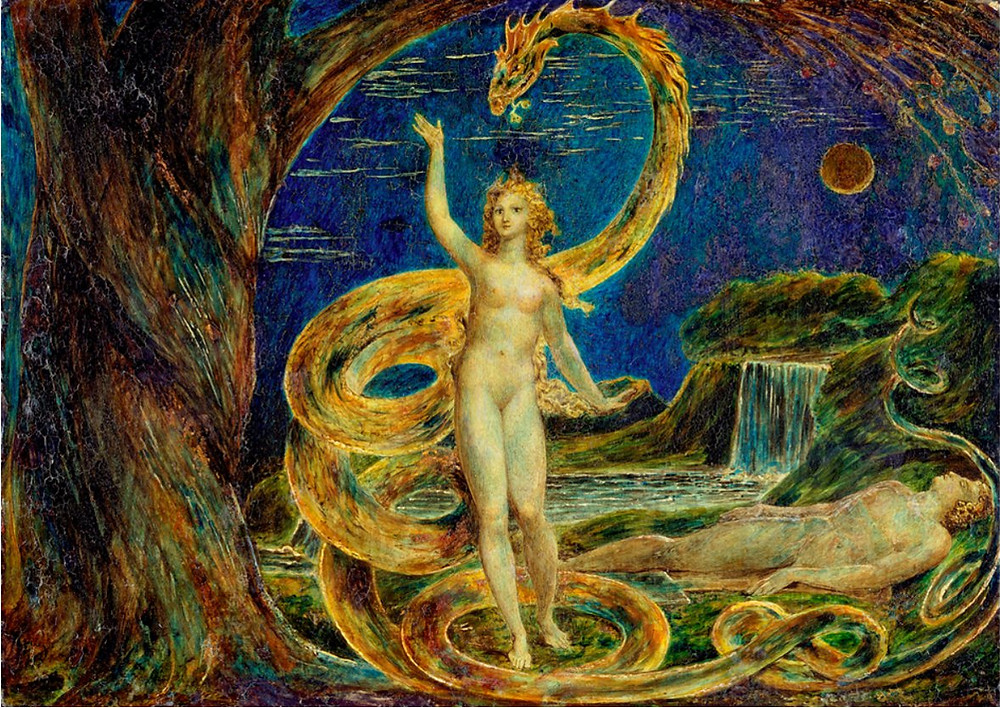 A woman, nude stands under the arched branch of a large tree. Her feet stand within the twining loops of a giant serpent whose body spirals behind her, the serpent's head curves above her own. Her right hand is raised and left is at her side in the symbolic stance of Isis Triumphans. The serpent's tail coils into the mid ground framing the body of a sleeping nude male. In the background, a dark sky and a moon that appears to be either a crescent or in eclipse.