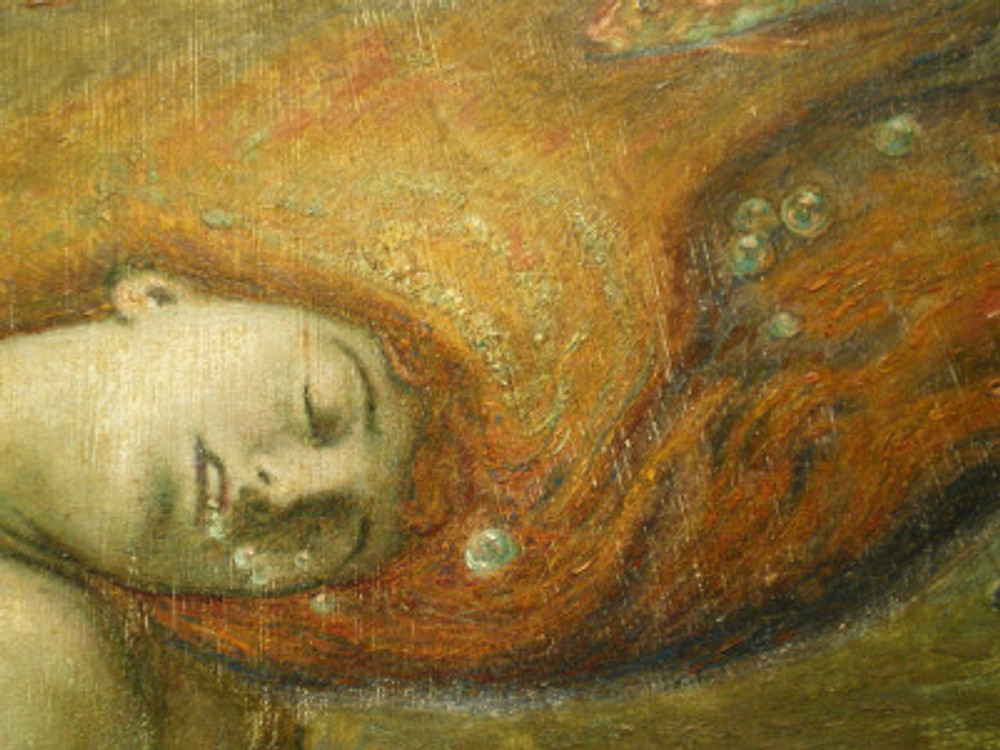 George Woolliscroft Rhead 1855-1920. Sacrifice to Neptune. A Pre-Raphaelite masterwork.