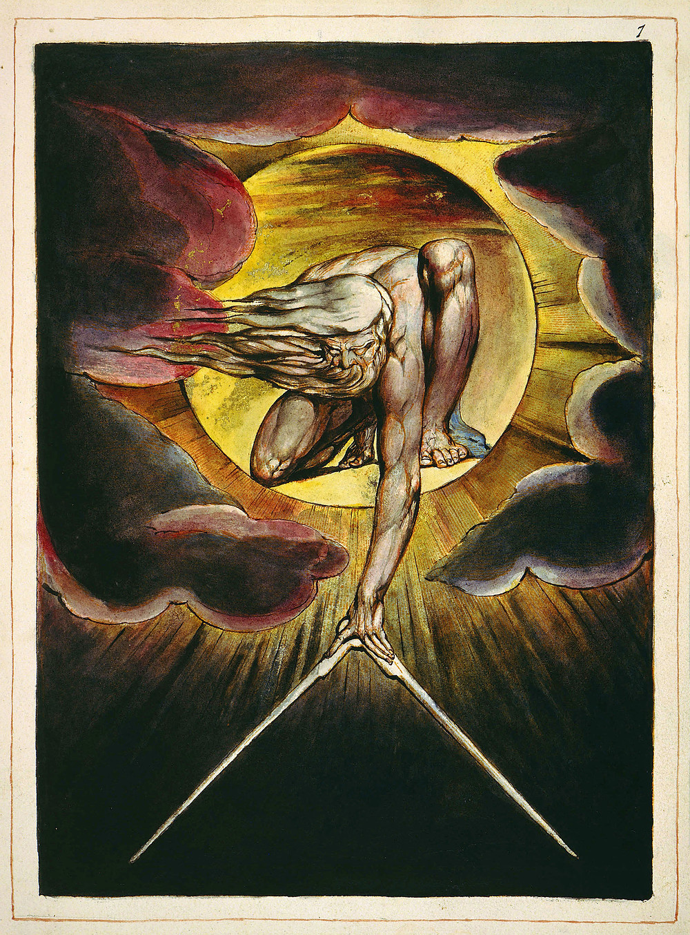 A man with flowing white hair and beard, and blind eyes kneels within a sun blaze, his left arm is stretched down holding a pair of compasses. Dark clouds surround the sun blaze.