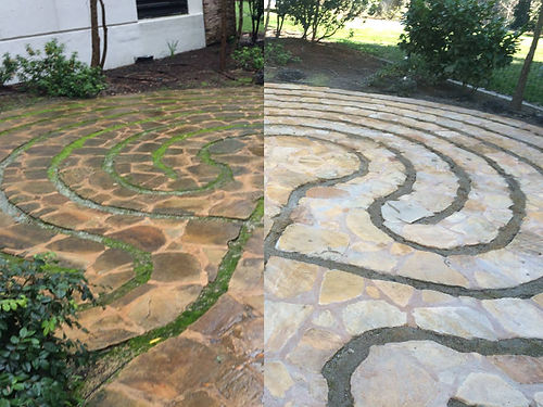 Before and after photo of a pressure washed stone walkway.