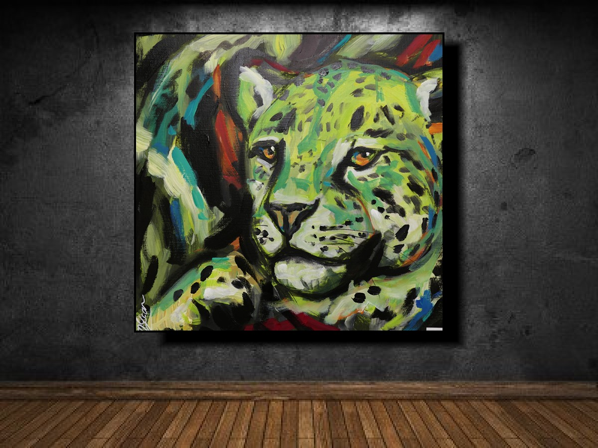 Leopard in green