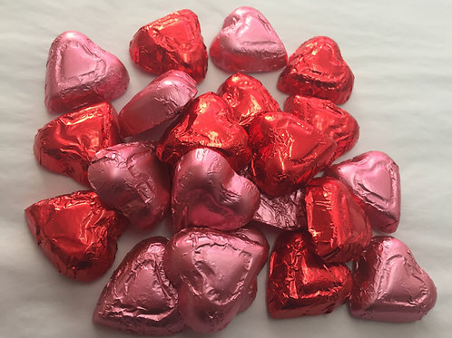 Solid Milk Chocolate Foil Hearts (bite size)