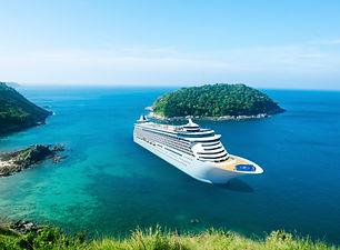 cruise ship on island