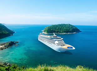 cruise ship on island