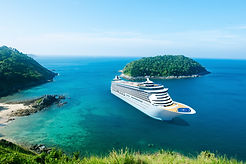 ocean cruise ship on island