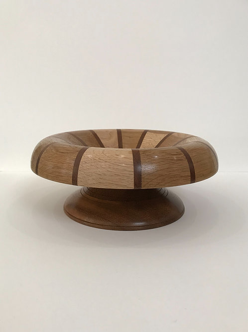Segmented Wooden Bowl with Floral Insert