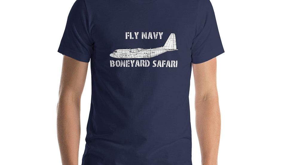 Boneyard Safari Fly Navy C-130 Short-Sleeve Unisex T-Shirt