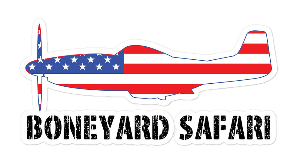 Boneyard Safari P-51 American Flag sticker