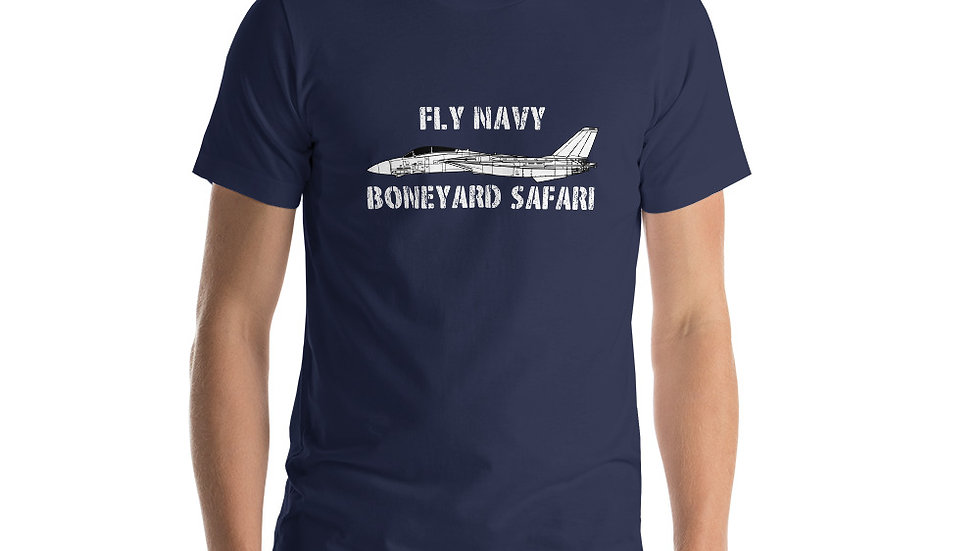 Boneyard Safari Fly Navy F-14A Short-Sleeve Unisex T-Shirt