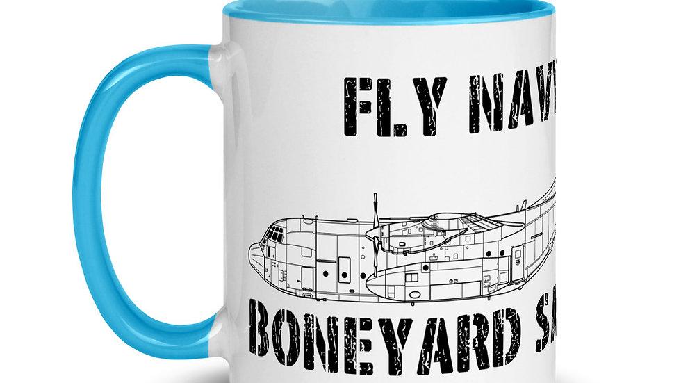 Boneyard Safari Fly Navy C-130 Mug with Color Inside