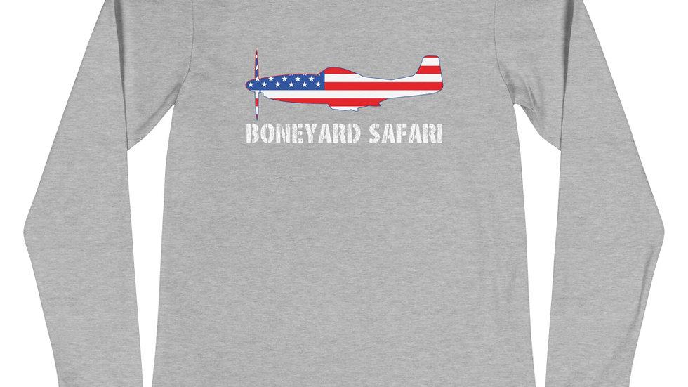 Boneyard Safari P-51 American Flag Unisex Long Sleeve Tee