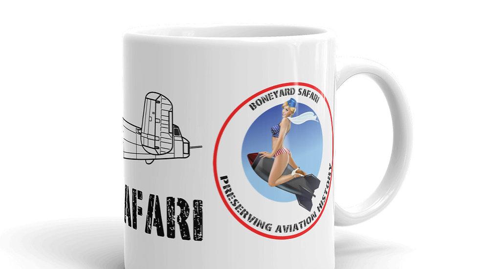 Boneyard Safari B-25J coffee mug with logo