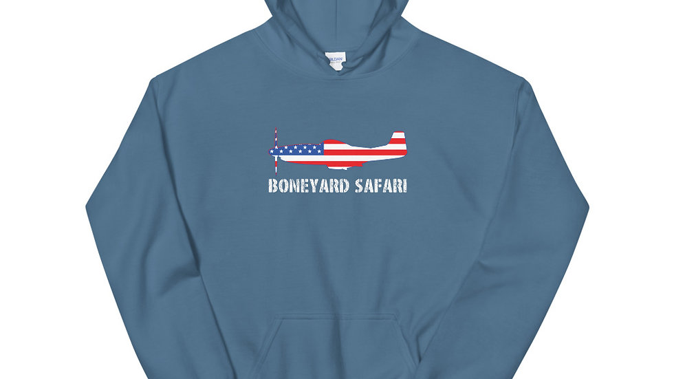Boneyard Safari P-51 American Flag Unisex Hoodie