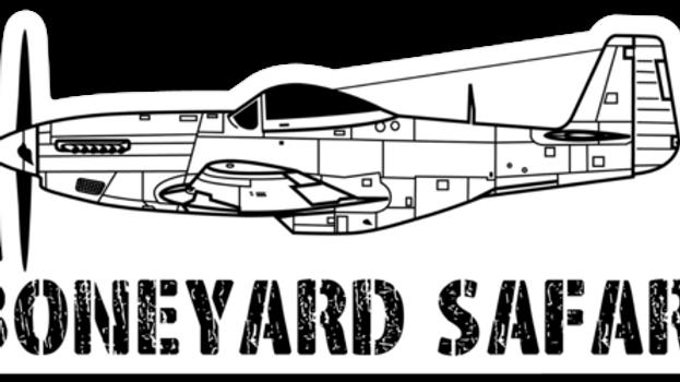 P-51 Mustang Boneyard Safari Illustration Sticker