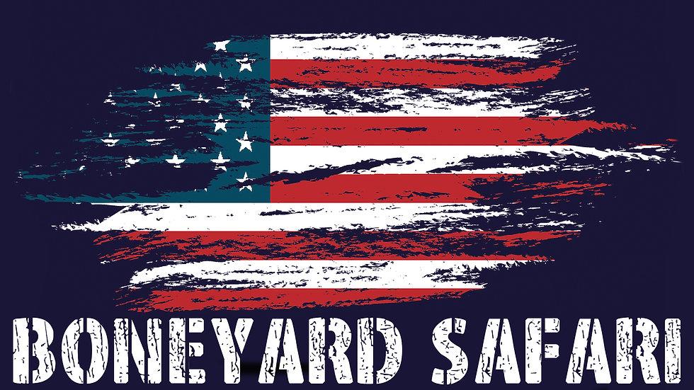 Boneyard Safari American Flag Sticker