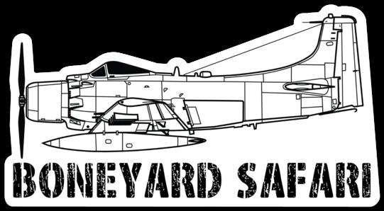 A-1 Skyraider Boneyard Safari Illustration Sticker