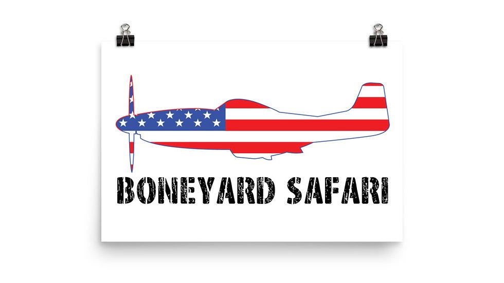 Boneyard Safari P-51 American Flag Poster