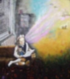Encaustic painting, based on my childhood memories