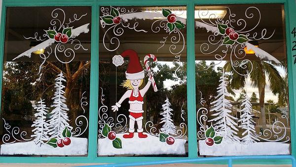 Christmas Window Painting on Marco Island